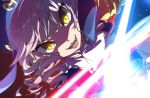 1girl dlanor_a._knox drill_hair eiserne_jungfrau gauntlets glowing glowing_sword glowing_weapon hat highres hinamikan purple_hair single_gauntlet slit_pupils solo umineko_no_naku_koro_ni weapon yellow_eyes
