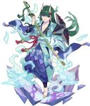 1boy aqua_kimono architecture armor artist_request bangs barefoot blue_legwear blue_pants collarbone east_asian_architecture eyebrows_visible_through_hair eyeshadow feet full_body green_eyeshadow green_hair hakama_pants hand_up happy highres holding holding_sword holding_weapon horns japanese_clothes katana kimono leg_up long_hair long_sleeves looking_at_viewer makeup male_focus murakumo_(world_flipper) non-web_source obi official_art oni oni_horns open_clothes open_kimono open_mouth origami pants paper_crane ribbon-trimmed_sleeves ribbon_trim sash sheath sheathed shoulder_armor sidelocks skin-covered_horns smile smoke solo standing standing_on_one_leg sword tassel transparent transparent_background violet_eyes weapon wide_sleeves world_flipper