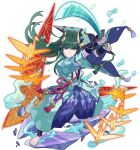 1boy aqua_kimono armor arms_up artist_request bangs barefoot blue_legwear blue_pants closed_mouth eyebrows_visible_through_hair eyeshadow feet fighting_stance full_body green_eyeshadow green_hair hakama_pants highres holding holding_sword holding_weapon horns japanese_clothes katana kimono legs_apart long_hair long_sleeves looking_at_viewer makeup male_focus murakumo_(world_flipper) non-web_source obi official_art oni oni_horns open_clothes open_kimono origami outstretched_arms pants paper_crane ribbon-trimmed_sleeves ribbon_trim sash shoulder_armor sidelocks skin-covered_horns smoke solo standing sword tassel transparent transparent_background v-shaped_eyebrows violet_eyes weapon wide_sleeves world_flipper