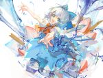 1girl blue_dress blue_eyes blue_hair bow ciloranko cirno dress food fruit hair_bow highres ice ice_cube outstretched_arms short_sleeves smile strawberry touhou water