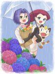 1boy 1girl bag carrying_under_arm gen_1_pokemon highres james_(pokemon) jessie_(pokemon) meowth rain smile team_rocket tsukino_mi umbrella
