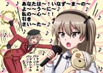 2girls :d afterimage bangs beret black_gloves black_headwear black_neckwear black_ribbon boko_(girls_und_panzer) bow bowtie brown_eyes casual closed_eyes collared_shirt commentary dress_shirt eighth_note eyebrows_visible_through_hair formal girls_und_panzer gloves hair_ribbon hat high_collar highres holding holding_instrument holding_microphone holding_stuffed_toy instrument jacket leaning_forward light_brown_hair long_hair long_sleeves looking_to_the_side microphone mother_and_daughter motion_lines multiple_girls music musical_note neck_ribbon omachi_(slabco) one_side_up open_mouth playing_instrument red_jacket red_skirt ribbon shimada_arisu shimada_chiyo shirt singing skirt skirt_suit smile stuffed_animal stuffed_toy suit suspender_skirt suspenders tambourine teddy_bear tilted_headwear translated white_shirt