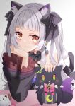 1girl animal_ear_fluff animal_ears bangs bare_shoulders black_choker black_dress blush bow cat cat_ears cat_girl cat_tail choker commentary_request criss-cross_halter divergenceok dress frilled_choker frilled_dress frills gothic_lolita halter_dress halterneck hexagram highres hololive kemonomimi_mode lolita_fashion looking_at_viewer murasaki_shion orange_eyes pink_bow shiokko_(murasaki_shion) silver_hair tail virtual_youtuber