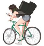 1girl backpack bag bangs bicycle black_hair black_shirt breasts brown_eyes cellphone colored_inner_hair denim denim_shorts eyebrows_visible_through_hair green_hair ground_vehicle highres holding holding_phone large_breasts medium_hair miru_(ormille) mole mole_on_thigh multicolored_hair original ormille phone riding_bicycle shirt shorts simple_background sleeveless smartphone white_background