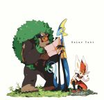 aya_(ayamenora) bright_pupils chin_stroking cinderace closed_mouth commentary_request gen_8_pokemon grass highres holding holding_map inteleon looking_down map pokemon pokemon_(creature) pouch rillaboom rock shiny smile squatting standing white_pupils yellow_eyes