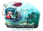? blue_hair bubble closed_eyes commentary_request english_text engrish_text fall_guy fall_guys fish frilled_kimono frills full_body green_kimono head_fins holding japanese_clothes kashuu_(b-q) kimono konpaku_youmu konpaku_youmu_(ghost) long_sleeves mermaid monster_girl ranguage silhouette swimming sword touhou underwater wakasagihime weapon