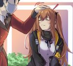 ! 1boy 1girl 3_small_spiders bangs black_jacket black_scarf blush brown_hair closed_eyes closed_mouth commander eyebrows_visible_through_hair girls'_frontline hair_between_eyes hair_ribbon headpat highres jacket long_hair long_sleeves mask military military_uniform mouth_mask open_clothes open_jacket ribbon scarf shirt solo_focus surgical_mask twintails ump9_(girls'_frontline) uniform white_shirt
