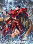armor armored_boots bangs blue_eyes blue_hair boots cape company_name debris electricity fire_emblem fire_emblem:_radiant_dawn fire_emblem_cipher gloves holding holding_sword holding_weapon izuka_daisuke official_art outdoors shoulder_armor sword weapon zelgius_(fire_emblem)
