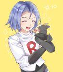 1boy carrying closed_eyes gen_8_pokemon happy james_(pokemon) momosuzurina morpeko pokemon pokemon_(anime) pokemon_(creature) smile team_rocket yellow_background