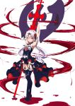 1girl absurdres armpits axe bangs bare_shoulders black_legwear blood boots breasts closed_mouth cross_(weapon) flower full_body hair_between_eyes hair_flower hair_ornament highres holding holding_axe holding_weapon honkai_(series) honkai_impact_3rd looking_at_viewer red_eyes simple_background small_breasts smile solo standing the_key theresa_apocalypse theresa_apocalypse_(luna_kindred) thigh-highs twintails weapon white_background white_hair