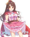 1girl blush breasts brown_eyes brown_hair cloak gloves highres idolmaster idolmaster_cinderella_girls large_breasts long_hair looking_at_viewer princess_connect! shimamura_uzuki shimon_(31426784)