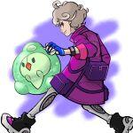 1boy bag bangs bede_(pokemon) blonde_hair closed_mouth coat curly_hair duosion dynamax_band eyelashes gen_5_pokemon gloves grey_legwear highres holding holding_poke_ball kokesa_kerokero leggings legs_apart looking_at_viewer male_focus partially_fingerless_gloves poke_ball pokemon pokemon_(creature) pokemon_(game) pokemon_swsh purple_coat shoes short_hair smile violet_eyes