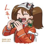 2girls :d brown_hair chibi closed_eyes dated eating fairy_(kancolle) fang food_request jacket kantai_collection long_sleeves mask mask_on_head minigirl multiple_girls noumiso open_mouth red_jacket ryuujou_(kancolle) simple_background smile twintails twitter_username upper_body white_background