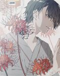 1boy absurdres bangs black_hair flower grey_eyes hand_up highres intravenous_drip male_focus mya_x_x original parted_lips red_flower shadow short_hair solo spider_lily tears