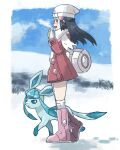 1girl bag beanie black_hair blush boots clouds coat dawn_(pokemon) day duffel_bag eyelashes footprints from_side full_body gen_4_pokemon glaceon grey_eyes hair_ornament hairclip hands_up hat kokesa_kerokero long_hair long_sleeves open_mouth outdoors over-kneehighs pink_footwear pokemon pokemon_(creature) pokemon_(game) pokemon_dppt pokemon_platinum scarf sky smile snow thigh-highs white_bag white_headwear white_legwear white_scarf