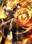1boy alvis_(fire_emblem) book company_name fire fire_emblem fire_emblem:_genealogy_of_the_holy_war fire_emblem_cipher full_body holding holding_book holding_weapon looking_at_viewer magic official_art red_eyes redhead wada_sachiko weapon