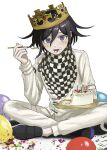 1boy balloon black_footwear black_hair cake candle checkered checkered_scarf crown danganronpa_(series) danganronpa_v3:_killing_harmony eating flipped_hair food food_on_face fork fruit grey_jacket grey_pants highres indian_style jacket long_sleeves looking_at_viewer male_focus open_mouth ouma_kokichi pants renshu_usodayo scarf short_hair simple_background sitting smile solo straitjacket tongue tongue_out violet_eyes white_background