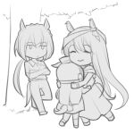 3girls ear_ornament gold_ship_(umamusume) greyscale headgear kin'iro_ryotei_(umamusume) long_hair low_ponytail lowres monochrome mother_and_daughter multiple_girls original personification pillbox_hat point_flag_(racehorse) shuanghu-miku sketch tail tail_through_clothes tree umamusume younger