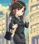 1girl afterimage bag bangs black_hair black_jacket black_skirt blue_sky blurry blurry_background blush bow brown_eyes building clouds collared_shirt commentary_request cookie_(touhou) cowboy_shot eyebrows_visible_through_hair frilled_bow frilled_hair_tubes frills hair_bow hair_tubes hakurei_reimu handbag highres jacket looking_at_viewer medium_hair nob1109 office_lady open_mouth outdoors red_bow sananana_(cookie) shiny shiny_hair shirt skirt sky solo touhou white_shirt
