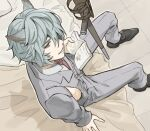 1boy animal_ears bangs bed blue_eyes blue_hair book erune formal gloves granblue_fantasy hair_between_eyes jacket looking_at_viewer male_focus mint_(kiri0120) necktie nehan_(granblue_fantasy) on_bed open_mouth shirt sitting sitting_on_bed smile solo