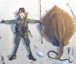 1girl animal bangs black_footwear black_gloves black_shorts breath brown_hair daito fishing fishing_rod gloves green_jacket hair_between_eyes hat holding holding_fishing_rod jacket leggings long_hair lying on_back open_mouth original oversized_animal partially_fingerless_gloves scissors shadow shoes shorts sneakers solo stingray sweat vest water