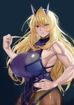 1girl blonde_hair blush breasts clenched_hand fate/grand_order fate_(series) gawain_(fairy_knight)_(fate) green_eyes hand_on_hip heterochromia huge_breasts long_hair muscular muscular_female pantyhose red_eyes sideboob smile yuhica