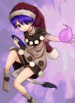 1girl bangs black_capelet book capelet commentary_request doremy_sweet dream_soul dress eyebrows_visible_through_hair full_body hair_between_eyes hat highres holding holding_book looking_at_viewer nightcap nob1109 open_mouth pom_pom_(clothes) purple_hair short_hair short_sleeves socks solo tail tapir_tail touhou violet_eyes white_dress white_legwear