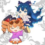 +++ 2girls blue_eyes blue_hair blush bright_pupils chibi closed_eyes coat confetti crys_(dai) dress drill_hair eyewear_on_head hat highres long_hair multiple_girls open_mouth orange_hair purple_coat siblings simple_background sisters smile top_hat touhou twin_drills twintails very_long_hair white_dress yorigami_jo'on yorigami_shion