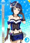 asaka_karin blue_eyes blue_hair blush character_name dress love_live!_school_idol_festival_all_stars short_hair smile