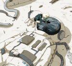 absurdres astronaut avogado6 broken flower highres lying on_back original robot symbolism white_flower