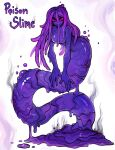 1girl absurdres breasts bubble core english_text evil_eyes evil_grin evil_smile full_body grin hair_between_eyes highres lamia long_hair looking_at_viewer matilda_fiship monster_girl original purple_slime slime_girl small_breasts smile smoke_trail solo violet_eyes white_background