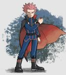 1boy arm_at_side belt black_cape black_footwear blue_jacket blue_pants boots cape clenched_hand closed_mouth floating_cape full_body hand_up holding holding_poke_ball jacket kokesa_kerokero lance_(pokemon) long_sleeves looking_at_viewer male_focus pants pink_hair poke_ball pokemon pokemon_(game) pokemon_hgss popped_collar short_hair solo spiky_hair standing