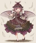 1girl ;d arinu bangs bird_wings bow bowtie brown_background brown_eyes brown_footwear brown_headwear dress eyebrows_visible_through_hair feather_dress feathers full_body high_heels highres long_sleeves looking_at_viewer mystia_lorelei one_eye_closed open_mouth pink_hair purple_bow purple_dress purple_neckwear short_hair simple_background smile solo standing touhou wide_sleeves winged_hat wings