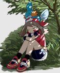 1girl bangs bike_shorts black_legwear brown_hair closed_eyes collared_shirt eyebrows_visible_through_hair eyelashes gen_3_pokemon gloves kokesa_kerokero long_hair may_(pokemon) mudkip on_head parted_lips pokemon pokemon_(creature) pokemon_(game) pokemon_on_head pokemon_rse red_footwear red_shirt shadow shirt shoes short_sleeves sitting sleeping socks starter_pokemon