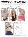 1boy 1girl absurdres artist_request breasts dorohedoro earrings highres jewelry large_breasts long_hair looking_at_viewer muscular muscular_female navel necktie noi_(dorohedoro) open_clothes open_mouth red_eyes shin_(dorohedoro) shirt shirt_cut_meme shorts sideboob simple_background smile under_boob