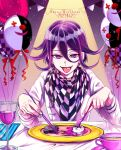 1boy balloon bangs checkered checkered_scarf commentary_request cup danganronpa_(series) danganronpa_v3:_killing_harmony dated drinking_glass fork grey_jacket hair_between_eyes happy_birthday highres indoors jacket knife long_sleeves looking_at_viewer male_focus monokuma open_mouth ouma_kokichi plate purple_hair scarf smile solo straitjacket table teacup tongue tongue_out violet_eyes zuki_(nakikitune)
