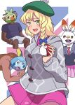 2boys 2girls bags_under_eyes bangs black_jacket blonde_hair blue_bow blue_shirt border bow braid breasts cable_knit cardigan collared_dress collared_shirt commentary_request cookie_(touhou) cosplay cowboy_shot dark-skinned_male dark_skin dress eyebrows_visible_through_hair gen_8_pokemon gloria_(pokemon) gloria_(pokemon)_(cosplay) grey_cardigan grookey hair_bow hakumai_(nicoseiga80737518) hat hisui_(cookie) holding holding_poke_ball hooded_cardigan interview_series_(inmu) jacket kirisame_marisa large_breasts long_hair looking_at_viewer manatsu_no_yo_no_inmu mars_(cookie) multiple_boys multiple_girls necktie open_mouth outside_border parody pink_dress pink_skirt poke_ball poke_ball_(basic) pokemon pokemon_(game) pokemon_swsh red_neckwear reisen_udongein_inaba scorbunny shirt shorts side_braid single_braid skirt sobble tam_o'_shanter touhou white_border white_shirt white_shorts yajuu_senpai yellow_eyes