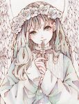 1girl bangs blush cross dated earrings feathered_wings flower grey_eyes hair_flower hair_ornament highres holding holding_cross jewelry long_hair looking_at_viewer original signature sleeves_past_wrists smile solo toaruocha white_flower white_wings wings