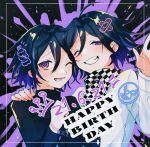 2boys ahoge bangs black_background blue_hair blush checkered checkered_neckwear checkered_scarf commentary_request danganronpa_(series) danganronpa_v3:_killing_harmony dated dual_persona face-to-face grin hand_up hands_up happy_birthday hara_pan-kun jacket looking_at_viewer male_focus medium_hair multiple_boys official_alternate_costume one_eye_closed open_mouth ouma_kokichi purple_background scarf shiny shiny_hair smile upper_body violet_eyes white_jacket