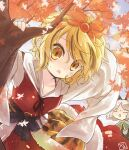 2girls animal_ears autumn_leaves biyon black_hair blonde_hair closed_eyes commentary_request day dress grey_hair hagoromo hair_ornament leaning_forward looking_at_viewer mouse_ears multicolored_hair multiple_girls nazrin open_mouth outdoors red_dress shawl shirt short_hair solo_focus streaked_hair tiger_stripes toramaru_shou touhou tree two-tone_hair upper_body white_shirt yellow_eyes