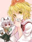 2girls :q animal_ears basket biyon black_dress black_hair blonde_hair bottle choko_(cup) commentary_request cup dress grey_hair hair_between_eyes hair_ornament holding holding_cup long_sleeves looking_at_viewer mouse_ears multicolored_hair multiple_girls nazrin pink_background red_dress red_eyes shirt short_hair streaked_hair tail tail_hold tongue tongue_out toramaru_shou touhou twitter_username two-tone_hair ufo white_shirt yellow_eyes