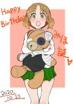 1girl :o bandages bangs blouse blush boko_(girls_und_panzer) brown_eyes brown_hair character_name commentary cosplay dated english_text eyebrows_visible_through_hair eyepatch girls_und_panzer girls_und_panzer_senshadou_daisakusen! green_skirt happy_birthday heart holding holding_stuffed_toy long_sleeves looking_at_viewer medical_eyepatch miniskirt monji_(crazy_flogman_1) nishizumi_miho nishizumi_shiho nishizumi_shiho_(cosplay) ooarai_school_uniform open_mouth outside_border pink_background pleated_skirt school_uniform serafuku short_hair skirt solo standing stuffed_animal stuffed_toy surprised teddy_bear translated white_blouse