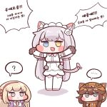 ... 3girls :3 ? animal_ear_fluff animal_ears bangs blue_eyes blush_stickers bulga cat_ears cat_girl cat_tail chibi cs_perrault eyebrows_visible_through_hair fang full_body gloves heterochromia khan_the_swift korean_text last_origin leona_of_blood_&_iron maid_headdress multiple_girls outstretched_arms paw_gloves paws raccoon_costume simple_background spoken_ellipsis spoken_question_mark tail white_background yellow_eyes