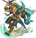 1boy aqua_cape arm_up armor arrow_(projectile) artist_request bangs beard belt bone bone_weapon boots brown_hair cape collarbone collared_shirt day eyepatch facial_hair full_body gauntlets glowing grass greaves green_footwear green_hair grin happy highres holding holding_sword holding_weapon jacket knee_boots leg_up leon_(world_flipper) light_trail looking_at_viewer male_focus medium_hair multicolored_hair muscular muscular_male non-web_source official_art outdoors over_shoulder pectorals pinstripe_pattern planted pouch red_eyes red_jacket shield shirt shoulder_armor sidelocks single_gauntlet smile solo standing standing_on_one_leg striped sword teeth transparent_background two-tone_hair v-shaped_eyebrows weapon weapon_over_shoulder white_shirt world_flipper zipper