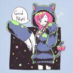 1girl animal_ears animal_hood asymmetrical_bangs azur_lane bangs black_blouse black_hoodie blouse blush_stickers bow breasts cat_ears cat_girl cat_hood cat_tail cropped_legs english_text highres holding holding_pillow hood hoodie i-19_(azur_lane) i-19_(pillowy_paradise)_(azur_lane) koru_koruno long_sleeves looking_at_viewer loungewear medium_breasts medium_hair one_eye_closed open_mouth pillow redhead ribbon sleeves_past_wrists solo speech_bubble standing star_symbol tail tail_ornament tail_ribbon thigh-highs torpedo unzipped zipper