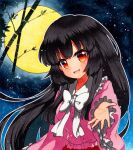 1girl arm_up bamboo bangs black_hair blouse blue_background blue_sky bow collar eyebrows_visible_through_hair frills full_moon hand_up houraisan_kaguya long_hair long_sleeves looking_at_viewer moon night night_sky no_hat no_headwear open_mouth pink_blouse pink_sleeves qqqrinkappp red_eyes red_skirt shikishi skirt sky smile solo touhou traditional_media white_bow white_collar white_neckwear yellow_moon