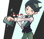 1boy :d black_hair buttons commentary_request cowboy_shot frontier_brain green_eyes green_hair green_neckwear green_pants half-closed_eyes hand_on_hip highres holding looking_at_viewer male_focus multicolored_hair necktie open_mouth outstretched_arm pants poke_ball_symbol pokemon pokemon_(game) pokemon_dppt pokemon_platinum smile solo thorton_(pokemon) tongue tora_(ctiger) twitter_username two-tone_hair