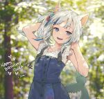1girl :d animal_ears artist_name asymmetrical_hair blouse blue_eyes blue_hair blue_skirt blue_vest blurry blurry_background buttons cat_ears commentary cube dappled_sunlight day english_commentary english_text eyebrows_visible_through_hair fish_tail flat_chest floating_hair forest gawr_gura hair_cubes hair_ornament hairclip hands_on_own_head happy_birthday hololive hololive_english long_hair looking_at_viewer multicolored_hair nature ninomae_ina'nis_(artist) official_alternate_costume one_side_up open_mouth outdoors shark_girl shark_tail sharp_teeth side_ponytail signature silver_hair skirt smile solo strap streaked_hair sunlight tail teeth tree two-tone_hair upper_body vest virtual_youtuber white_blouse