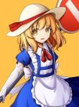 1girl apron artist_name bangs blonde_hair blue_dress bow collar dress eyebrows_visible_through_hair eyes_visible_through_hair gloves hair_between_eyes hat hat_bow highres kana_anaberal looking_at_viewer open_mouth orange_background puffy_short_sleeves puffy_sleeves red_bow red_neckwear red_ribbon ribbon short_hair short_sleeves sign simple_background smile solo standing touhou touhou_(pc-98) white_apron white_bow white_collar white_gloves white_headwear yellow_eyes yu_cha