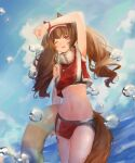 1girl ;d absurdres angelina_(arknights) animal_ears arknights arm_up armpits bangs bare_arms bare_shoulders blue_sky brown_hair cowboy_shot crop_top day fox_ears fox_tail hairband highres holding innertube long_hair looking_at_viewer midriff navel one_eye_closed open_mouth red_eyes red_hairband red_shirt rrrr_(user_rrrrr) shirt sky sleeveless sleeveless_shirt smile solo standing stomach tail thighs water_drop